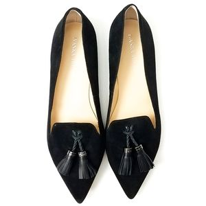 Ivanka Trump Black Suede Pointed Toe Flats sz 8.5